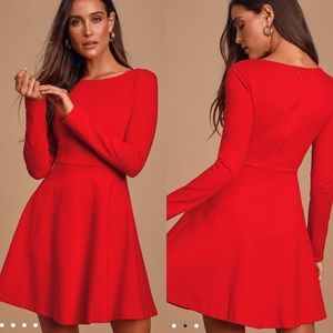 Lulu's Forever Chic Red Long Sleeve Dress XS